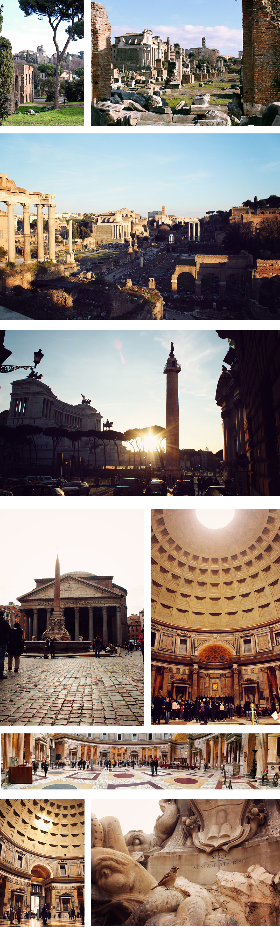 Palatine Hill, The wedding cake and the Pantheon in Rome, Italy